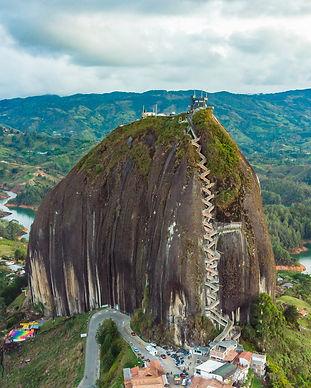 Aerial of large granite rock in Guatape,