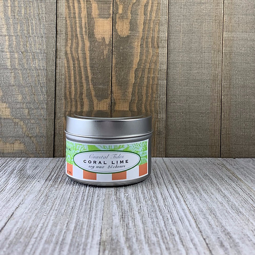 Soy Candle in Tin Container -Coral Lime