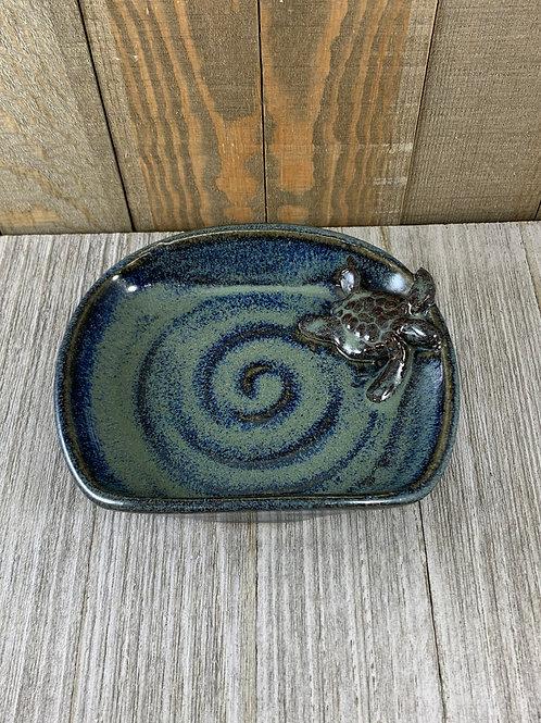 Handmade Soap Dish, Dark Sea Blue Sea Turtle