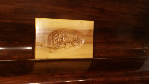 Wooden Plaque, Solid Poplar wood With Wild Doe & Buck Scenery Carving.