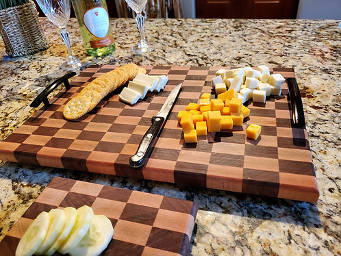 Wood Cutting Board; Natural Walnut & Maple Wood, Chess Board, End Grain.
