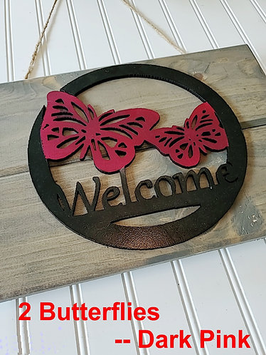 Wood Welcome Sign; Rustic Home Decor; 3D Butterfly, Welcome Plaques