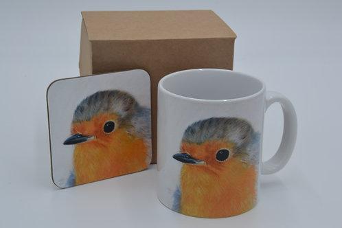 Little Robin Red Breast - Printed Mug & Coaster Set