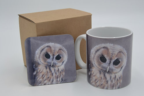 Good Morning Little Tawney Owl - Printed Mug & Coaster Set