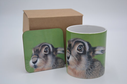 Hare In The Long Grass - Printed Mug & Coaster Set