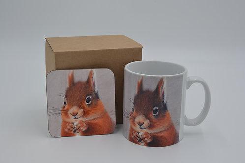 British Red Dinner Time - Printed Mug & Coaster Set