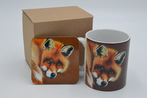 Fox Backwards Glance - Printed Mug & Coaster Set