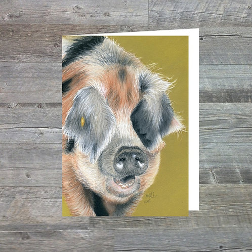 Oxford Sandy Pig At Old Hall Farm - Greetings Card (A6)