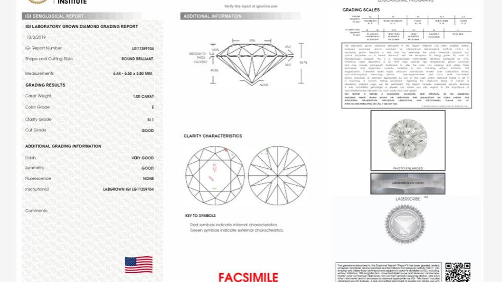1.00 E SI1 Brilliant round diamond