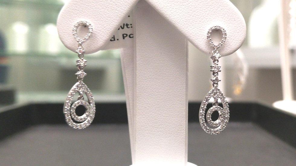 Diamond Pear-Shaped Frame Drop Earrings