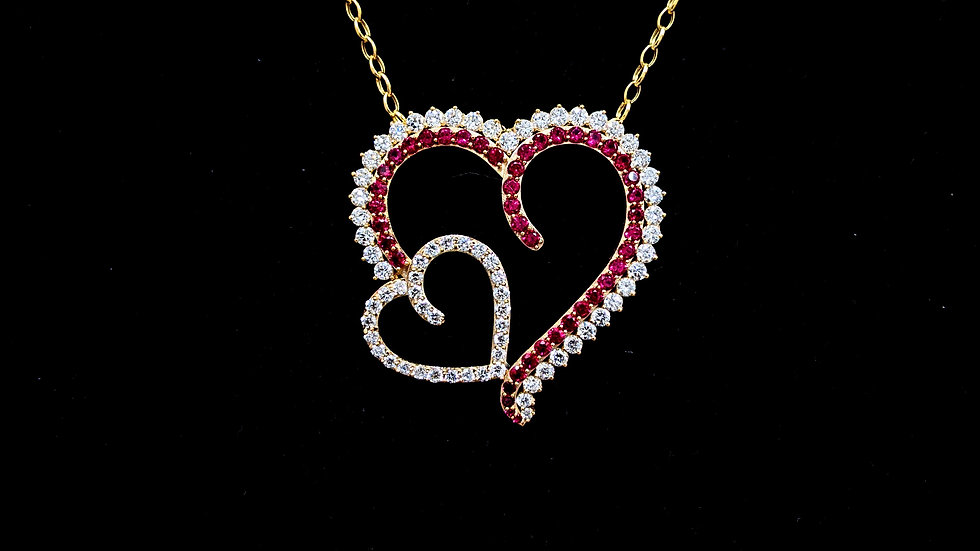 14 KT White gold Heart Pendant with Created Ruby Stone