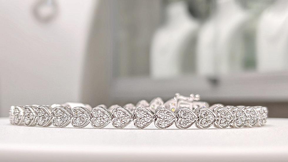 Tennis Bracelet Heart shape with round Diamond in 14kt White Gold