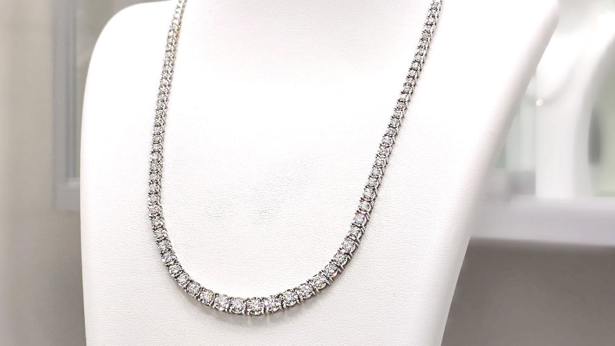 Graduating Diamond Necklace with Miracle Plate.