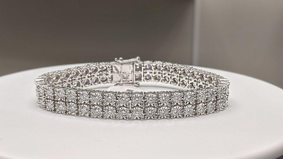 """Diamond Double Row Illusion Tickle Tennis Bracelet in White Gold - 7.0"""""""