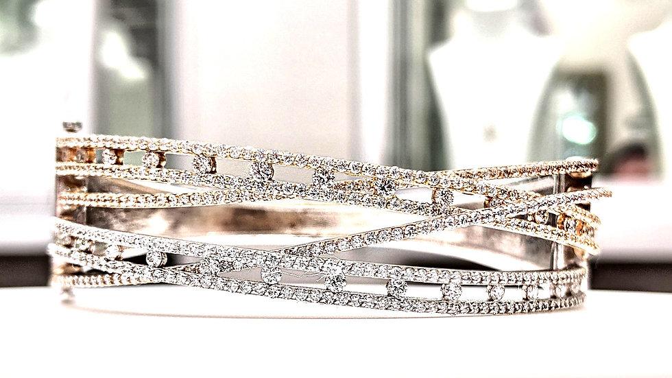 14KT Gold Criss Cross Diamond Bangle
