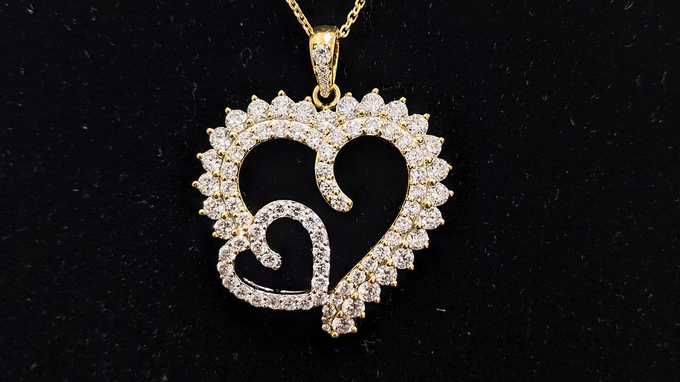 Two Tone Diamond Heart Pendent