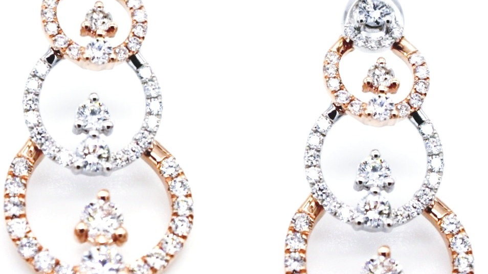 Big Geometric Metal Long Dangle Diamond Earrings