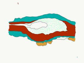 Restitution graphique des couches stratigraphiques d'une plaque en alliage cuivreux