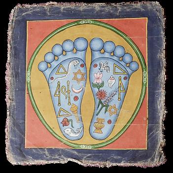 illustration ancienne tibétaine sur la réflexologie