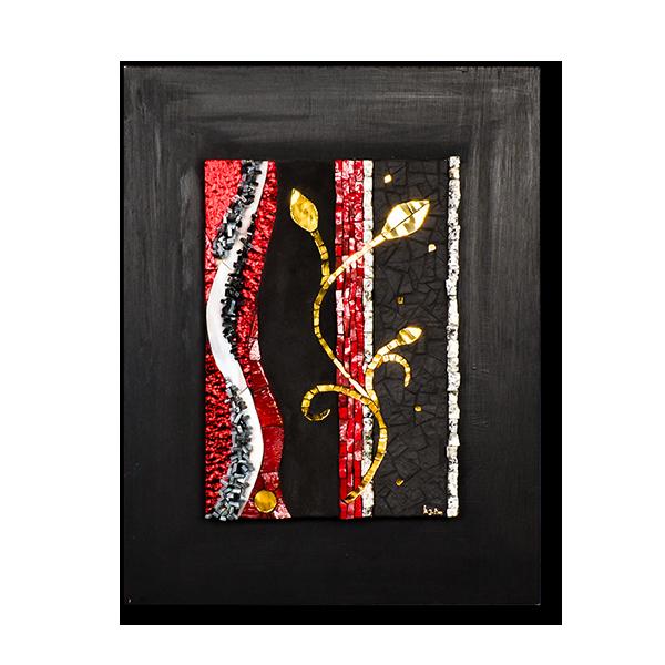 Un tableau en lignes verticales, représentant une plante grimpante en émaux d'or. De nombreuses techniques de mosaïques contemporaines sont présente: adamenti varié, piqué, alignement, joint large ou sans joint,