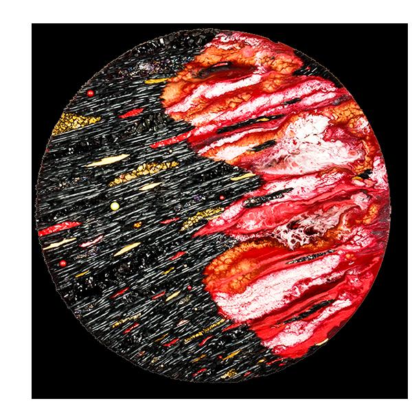 Katia Giton signe une mosaïque contemporaine circulaire pour moitié constituée d'ardoise parsemée d'or et de minéraux évoquant l'espace et ses objet filants, le tout sur un fond de peinture marbré rouge et blanc rappelant les couleurs de la planète Mars.