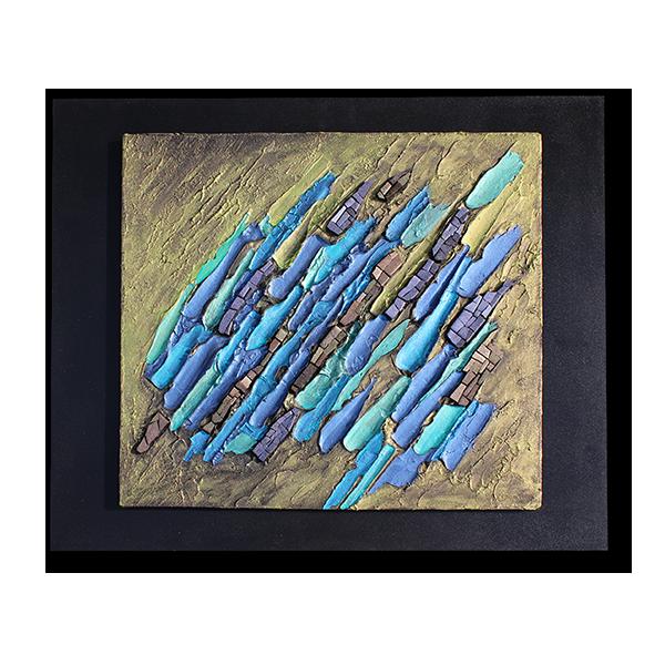 Tableau de Katia Giton strié de peinture épaisse bleue sur fond doré et parsemé d'émaux métallisés.