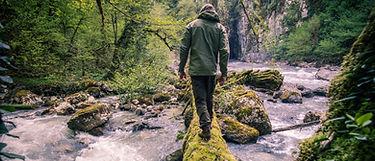 l'image montre un homme traversant une rivière sur un tronc d'arbre