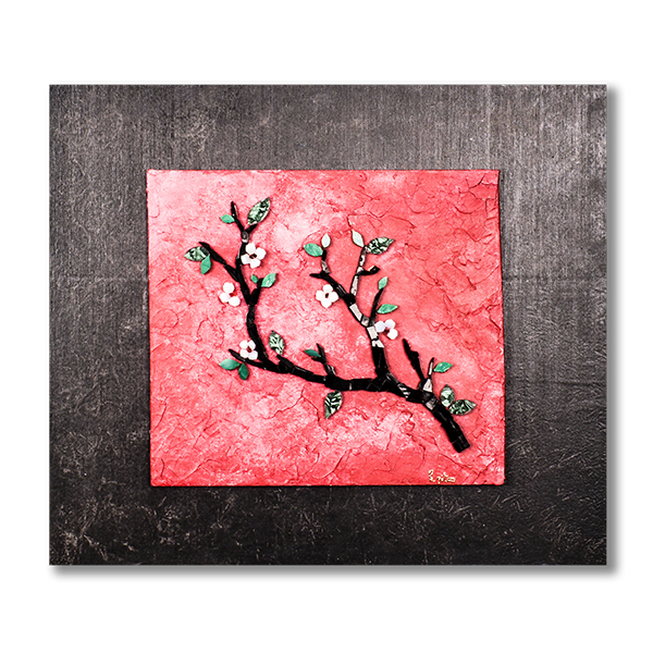 Tableau de Katia Giton représentant une branche de cerisier réalisée en mosaïque sur un fond peint en rouge,