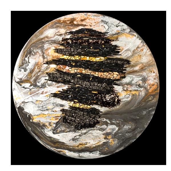 Tableau circulaire représentant la célèbre planète de StarWars avec ses masses rocheuses en ardoises, ses mers en  gris et blanc, son désert en brun doré.