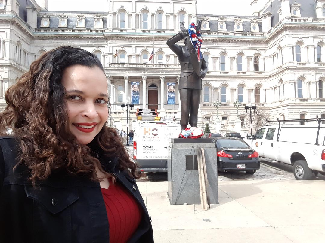 Taya Graham in front of Baltimore City Hall