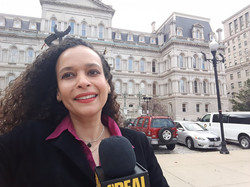 Taya Graham at City Hall preparing to report on City Council actions