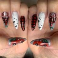 Christmas nails red plaid, polar bears,