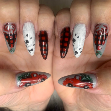 Christmas nails red plaid, polar bears,