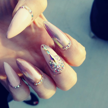 Light Pink Bling Chrome Nails