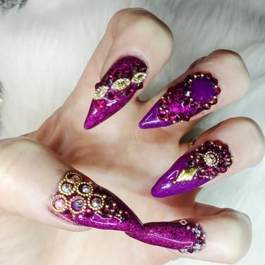 Fuchsia Bling Nails