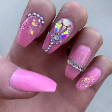 Pink Bling Coffin Nails