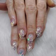 Clear Aurora Glitter Nails