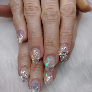 Clear Aurora Glitter Nails