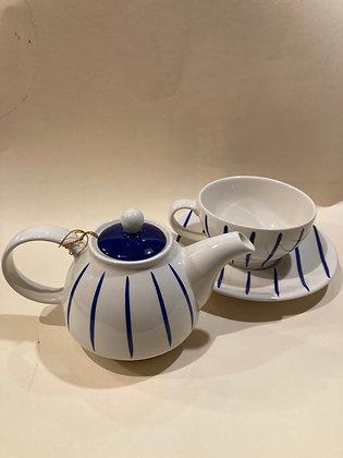 Teiera spezzata in ceramica a righe blu