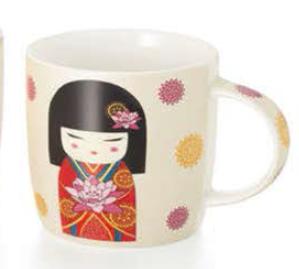 Mug con disegno giapponesina in rosso