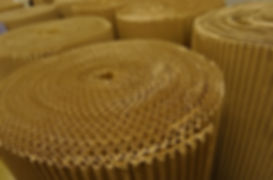 Cardboard rolls at the paper production factory stock image