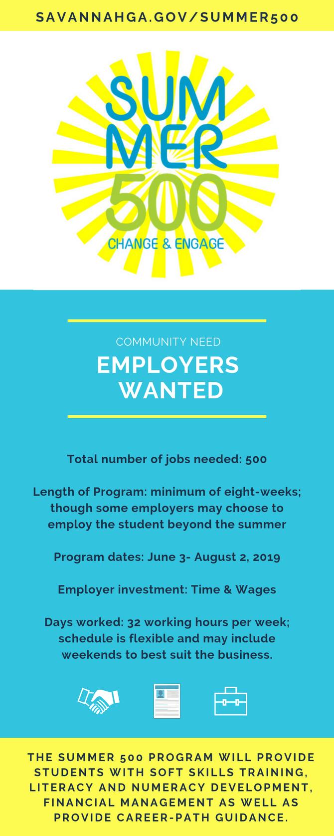Summer 500 Program seeks employers