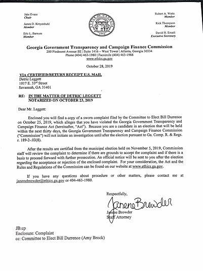Durrence Complaint and timeline - Nov 1