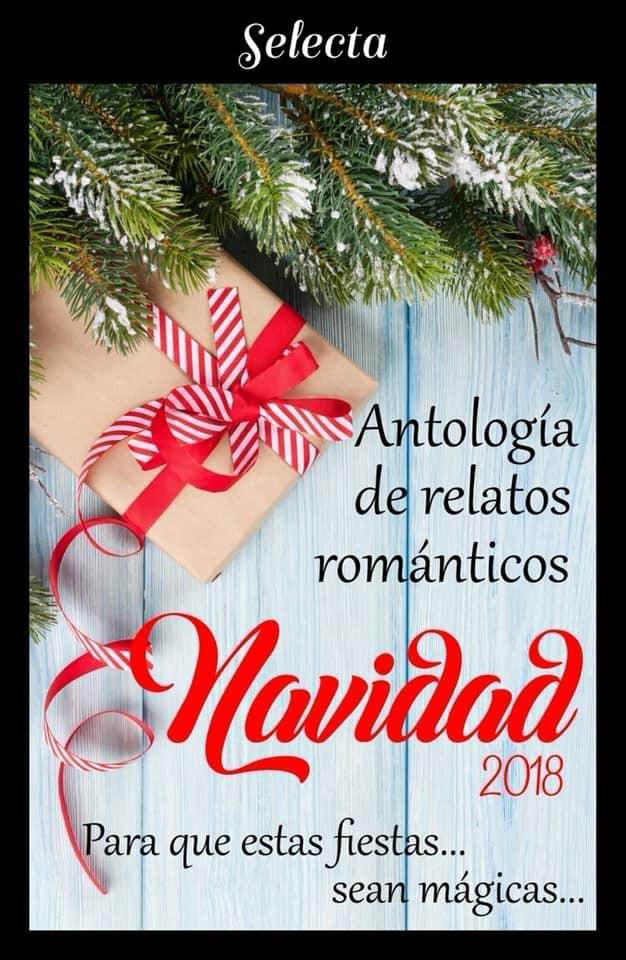 Portada de la antología de relatos de Navidad del sello editorial Selecta. Aparecen unas ramas de árbol de Navidad y un regalo con un lazo rojo.