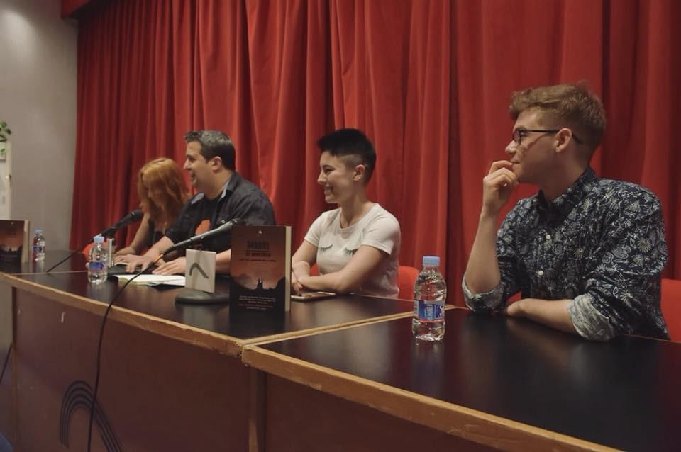 Presentación de la antología Madre de Monstruos en el Celsius 232. En la fotografía aparecen Covadonga González-Pola, Ricard Ruiz, Haizea M. Zubieta y Bruno Puelles