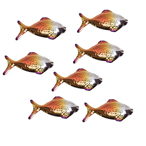 Shoal of 7 Grazing Fish Purple Patination