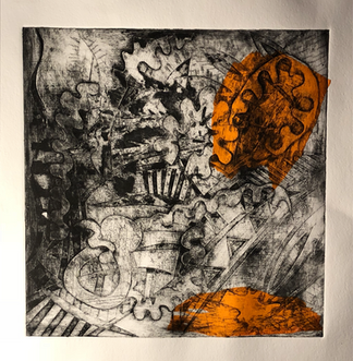 Sukru Ma collagraph orange
