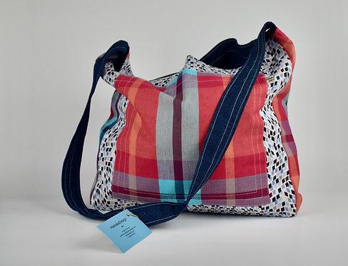 Hamaka x-body Mini squares and Red check pocket- Blue denim