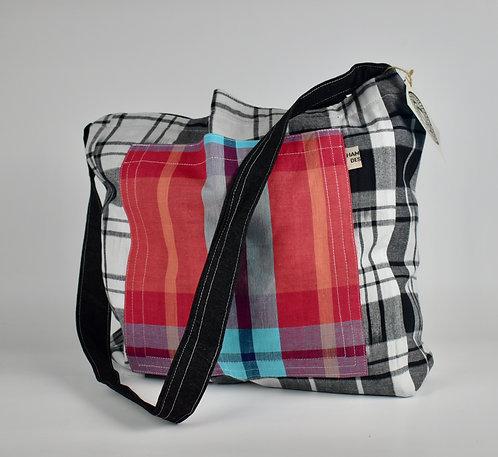 Hamaka x-body BLK/WH check and Red check pocket-Black denim