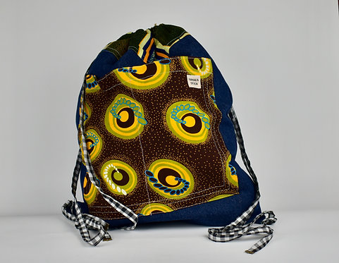 Hamaka Back Pack Blue denim with yellow planets pocket